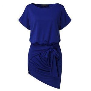 Dresses & Skirts - M-3X Casual Tie Front Mini Dress - Blue